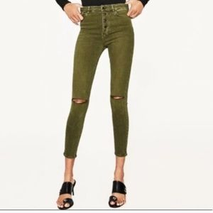 Zara premium collection Olive green button fly 6